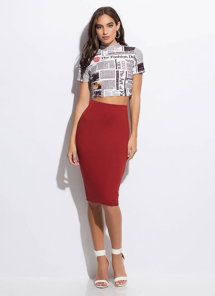 In Fashion News Text Print Crop Top MULTI