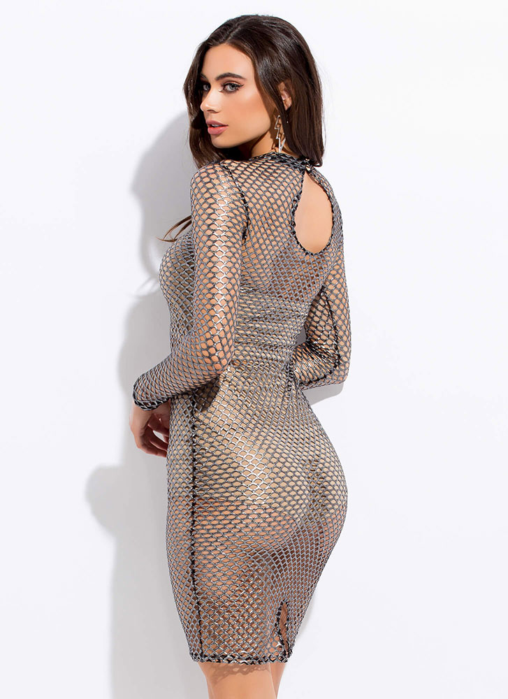 The Hole Night Netted Metallic Dress BLACK