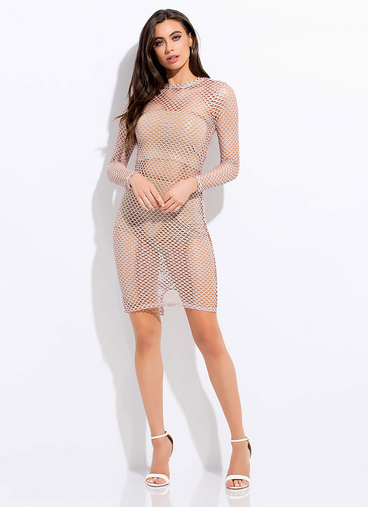 The Hole Night Netted Metallic Dress BLUSH