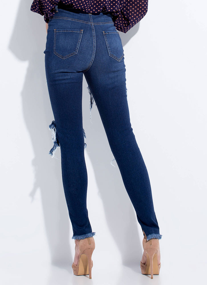 Slits Happening Destroyed Cut-Out Jeans DKBLUE