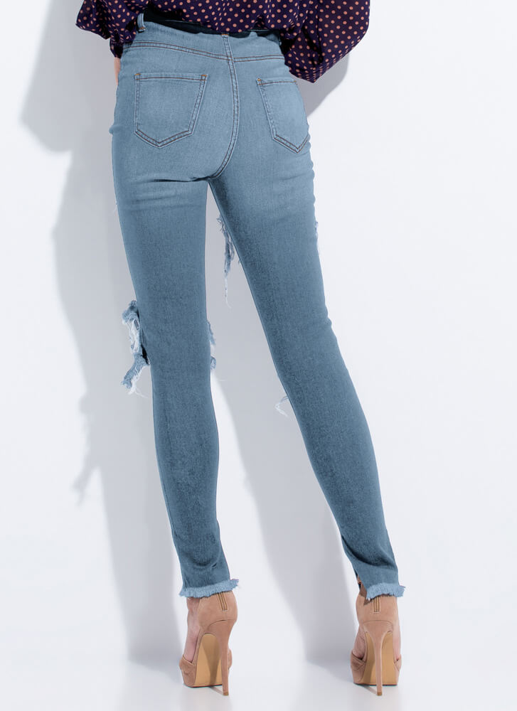 Slits Happening Destroyed Cut-Out Jeans MEDBLUE