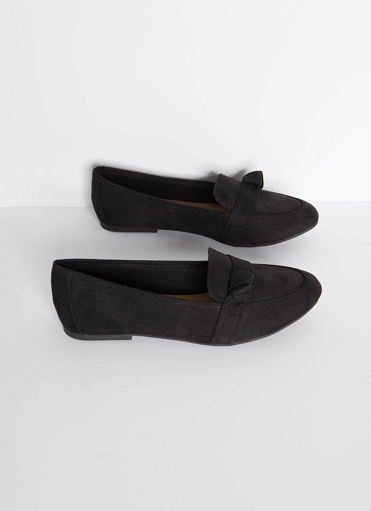 Knot So Simple Strapped Smoking Flats BLACK