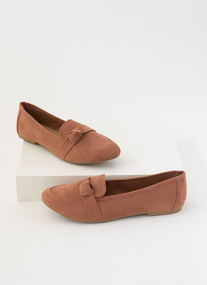 Knot So Simple Strapped Smoking Flats MOCHA