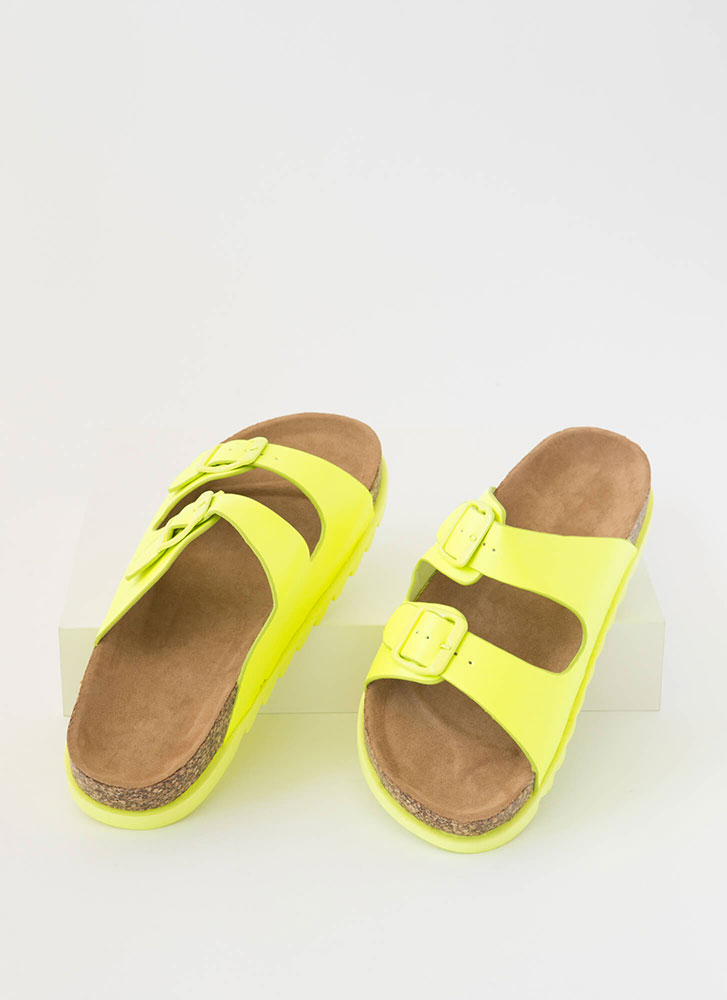 Jagged Edge Buckled Slide Sandals NEONYELLOW