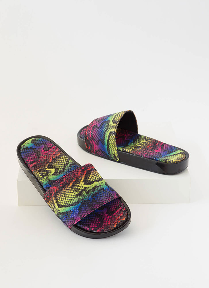 Hiss And Tell Snake Print Slide Sandals MULTI