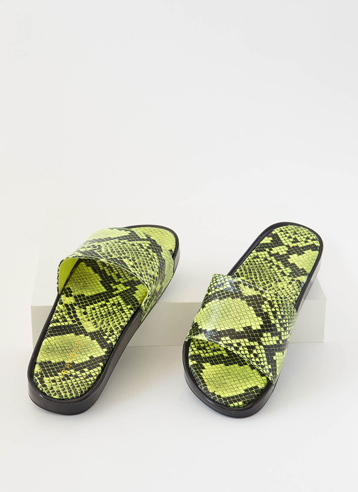 Hiss And Tell Snake Print Slide Sandals NEONYELLOW