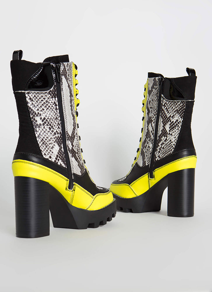Intensity Chunky Colorblock Booties SNAKE