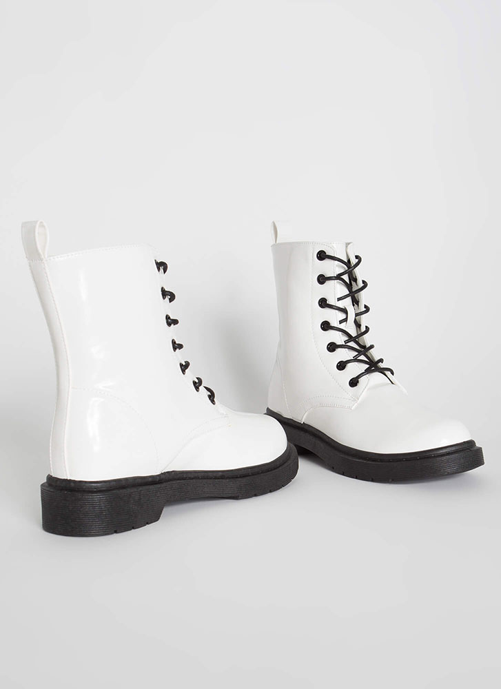 On The Grunge Side Lace-Up Boots WHITE