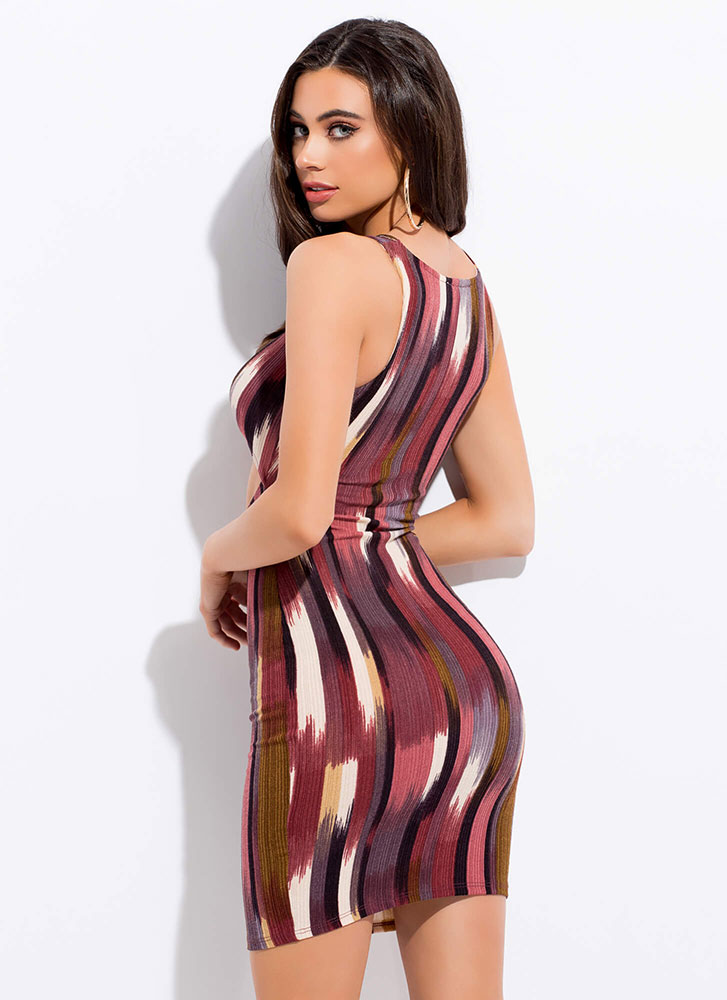 On A Hot Streak Knotted Cut-Out Dress BURGUNDY