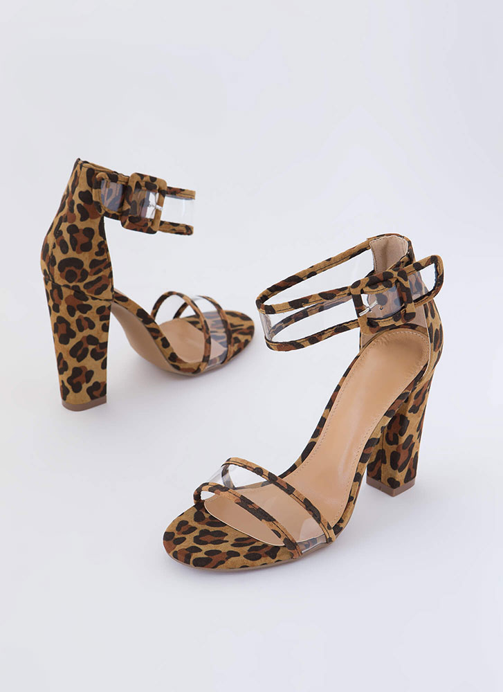 Animal Kingdom Clear Strap Chunky Heels LEOPARD