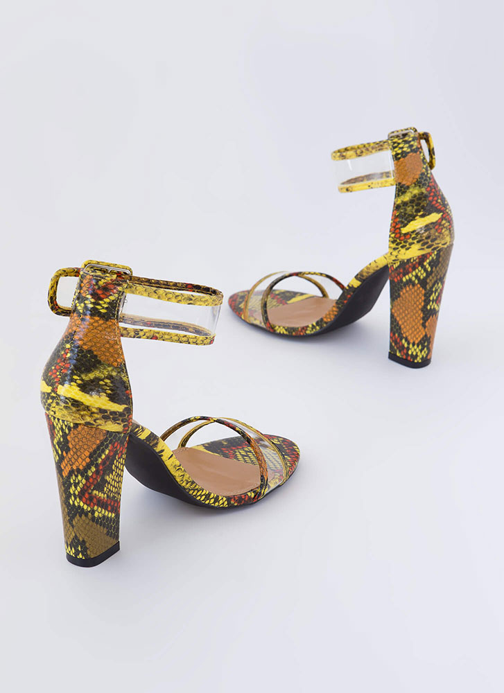 Animal Kingdom Clear Strap Chunky Heels YELLOW