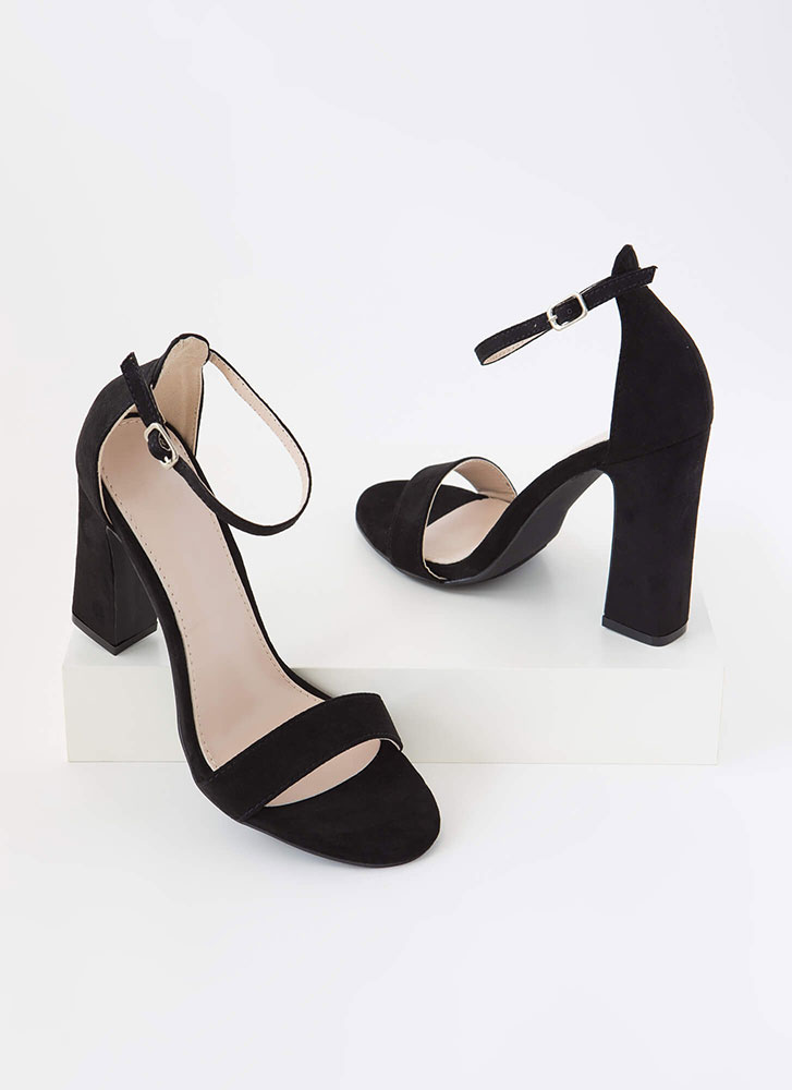 A Little Flare Ankle Strap Chunky Heels BLACK