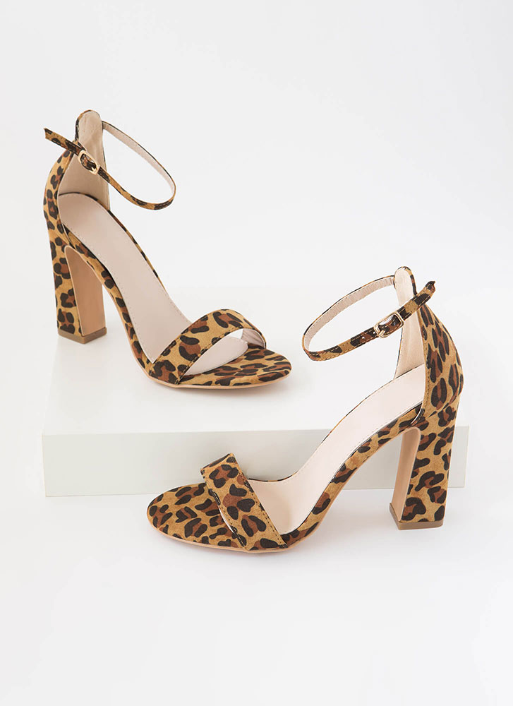 A Little Flare Ankle Strap Chunky Heels LEOPARD