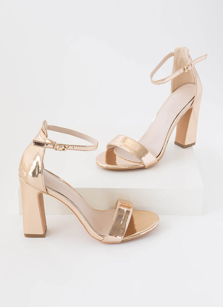 A Little Flare Ankle Strap Chunky Heels ROSEGOLD