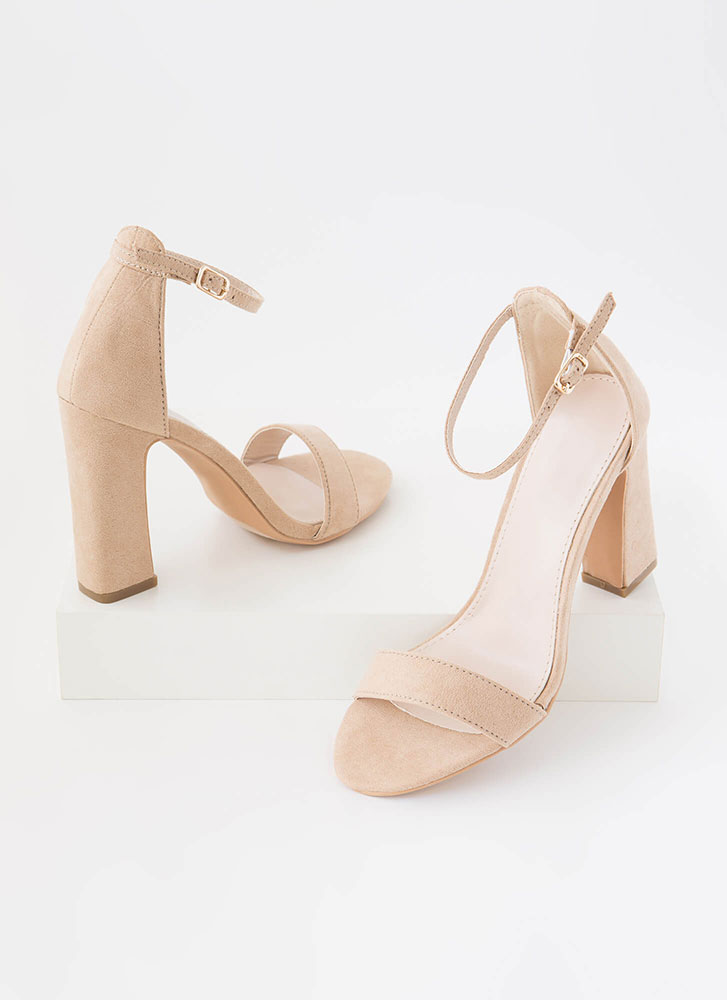 A Little Flare Ankle Strap Chunky Heels TAUPE
