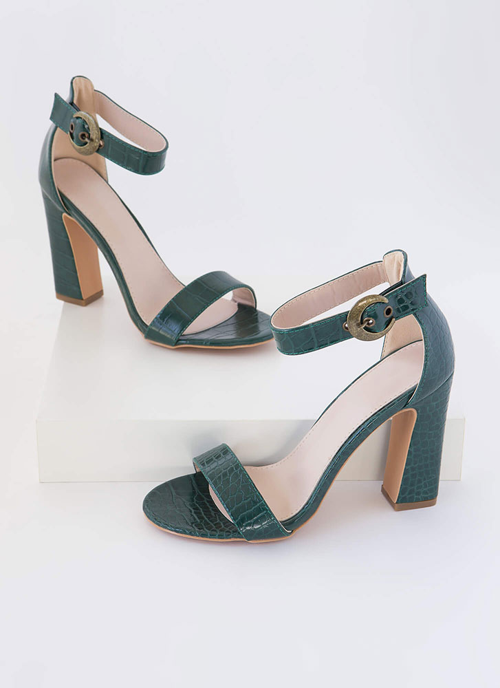 Cold-Blooded Reptile Chunky Heels GREEN