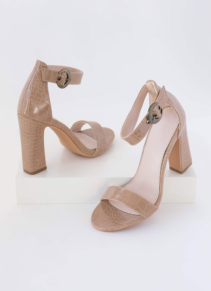 Cold-Blooded Reptile Chunky Heels TAUPE