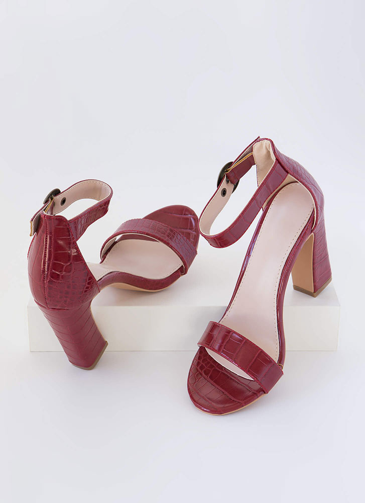 Cold-Blooded Reptile Chunky Heels WINE