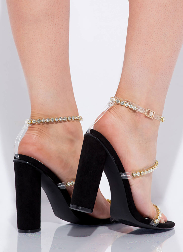 Carat Top Chunky Jeweled Strap Heels BLACK