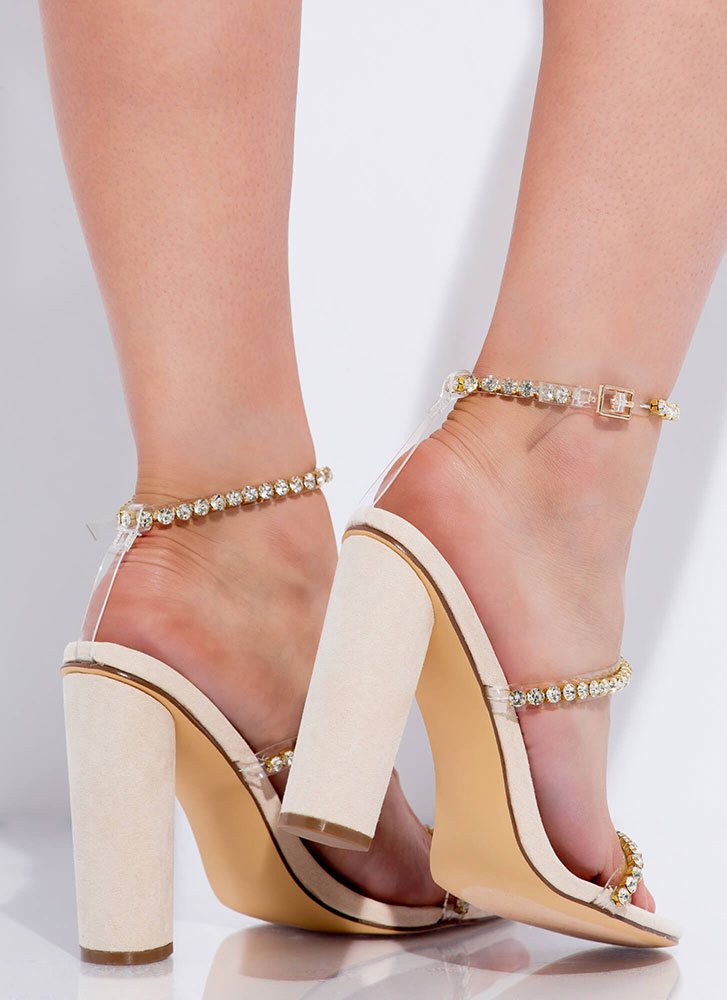 Carat Top Chunky Jeweled Strap Heels NUDE