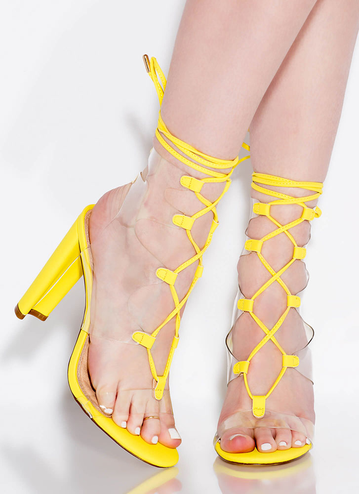 Clear Out Chunky Lace-Up Illusion Heels YELLOW