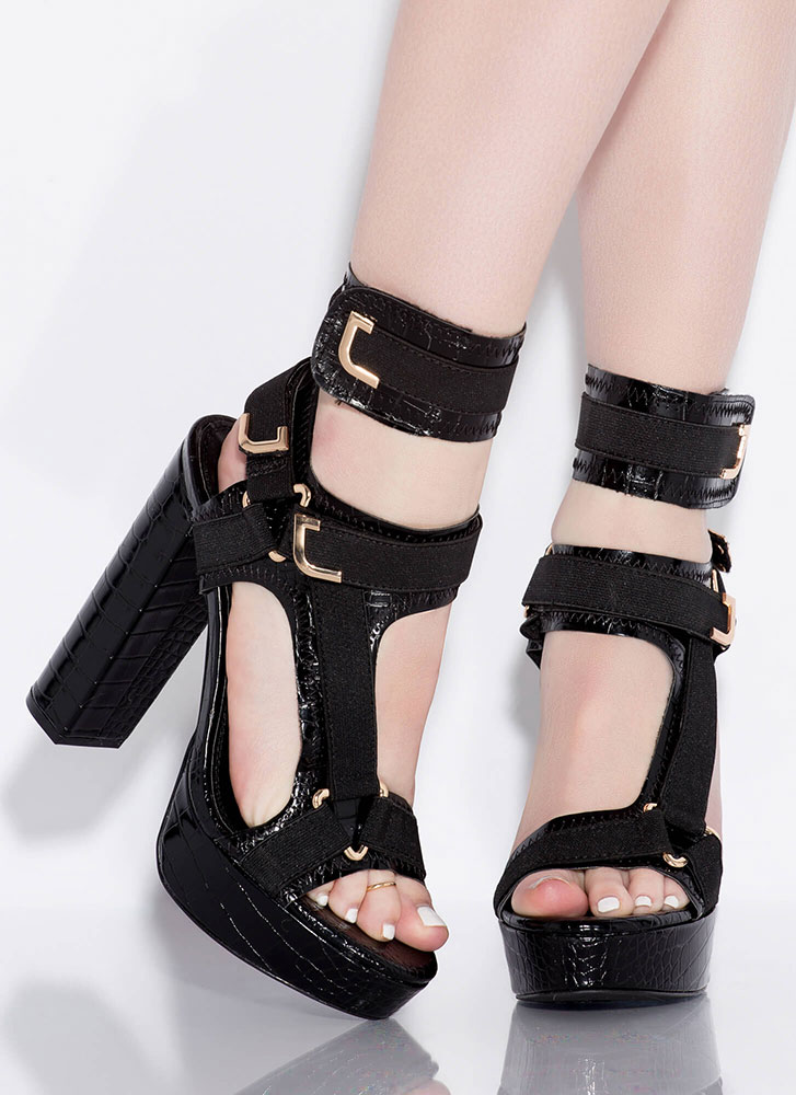 Band Mate Caged Crocodile Platforms BLACK (Final Sale)