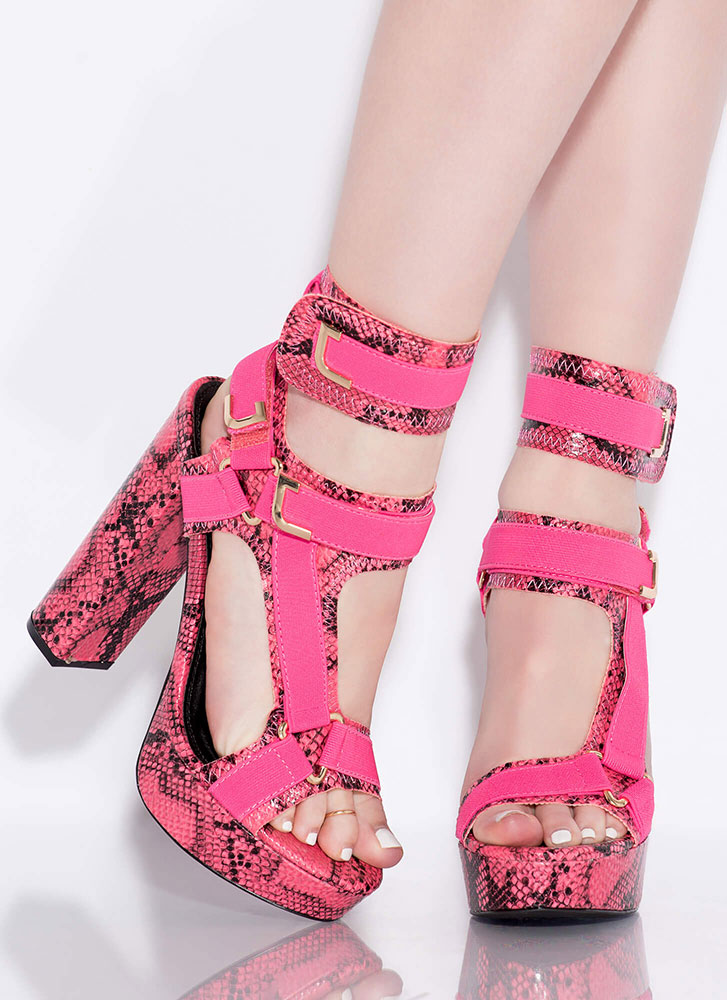 Band Mate Caged Snake Print Platforms HOTPINK