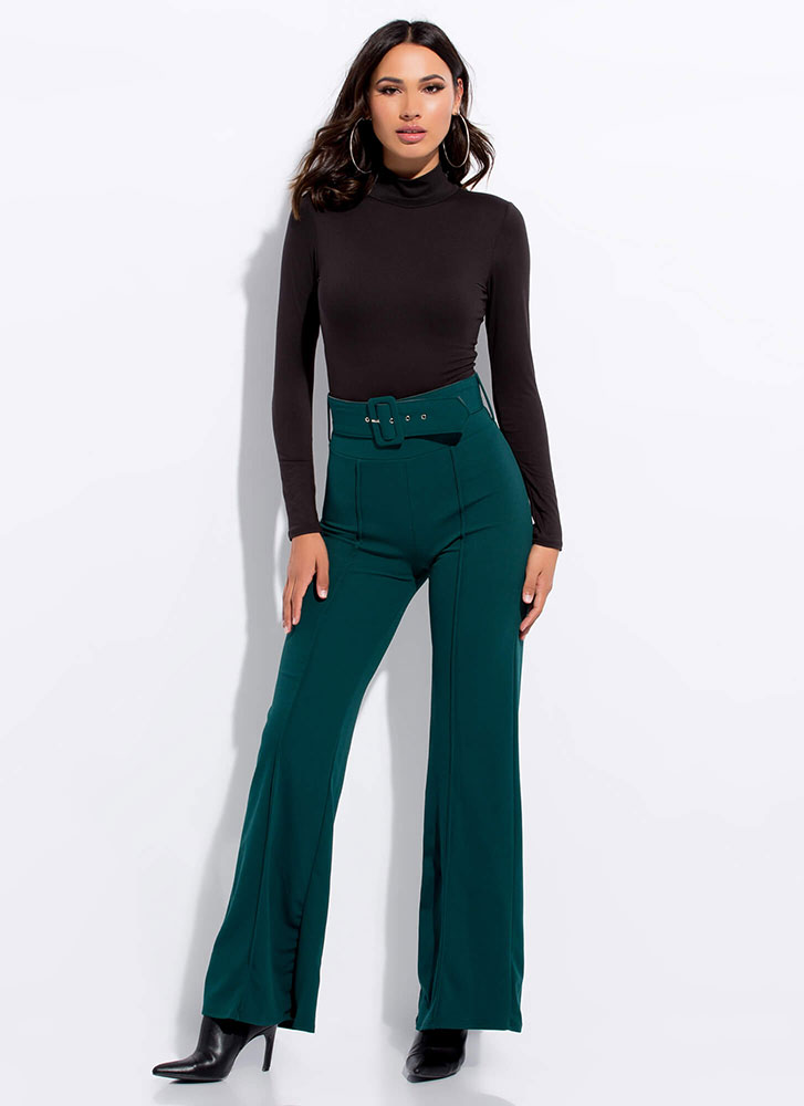 Belt It Out Girl High-Waisted Pants GREEN