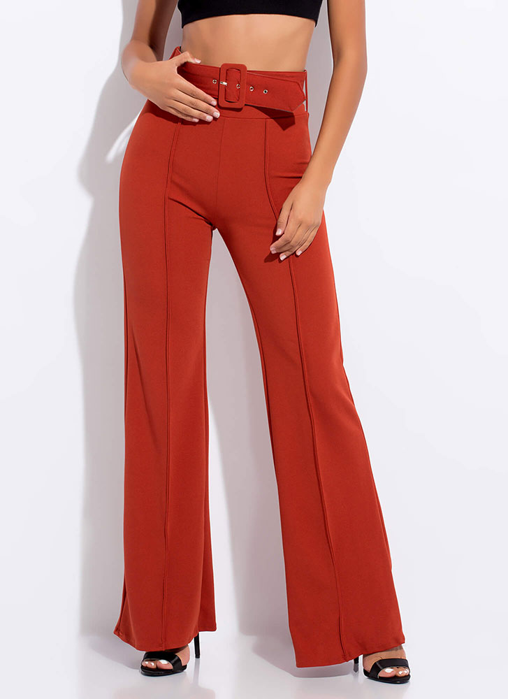 Belt It Out Girl High-Waisted Pants RUST