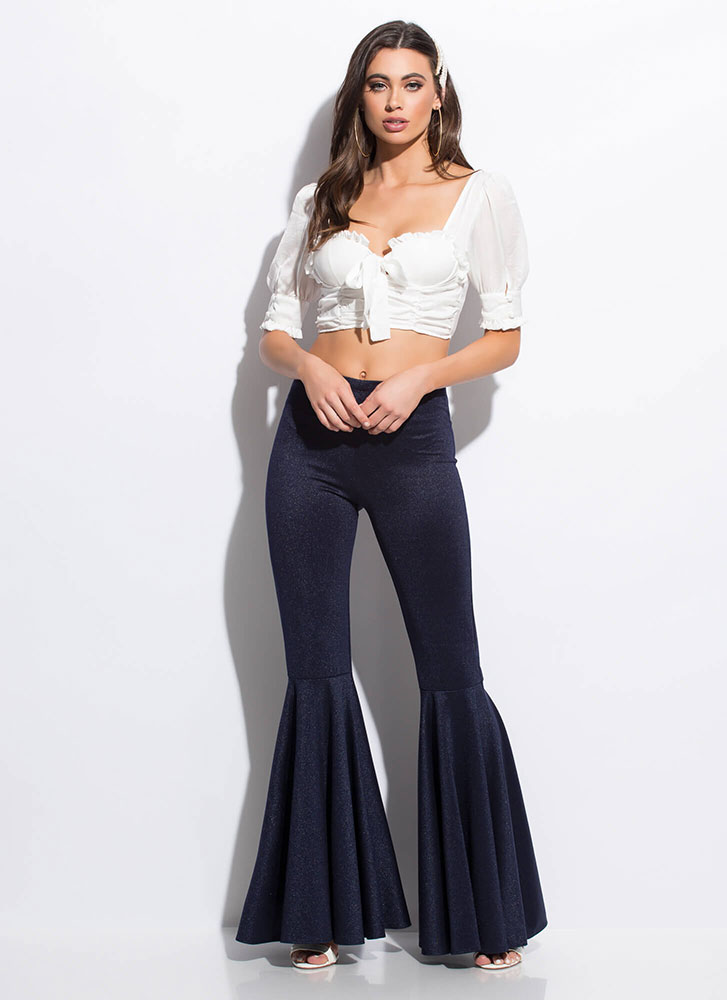 Retro Flare Shimmery Bell-Bottom Pants DENIM