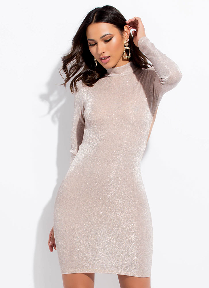 Glitz Attack Sparkly Open Back Dress BLUSH