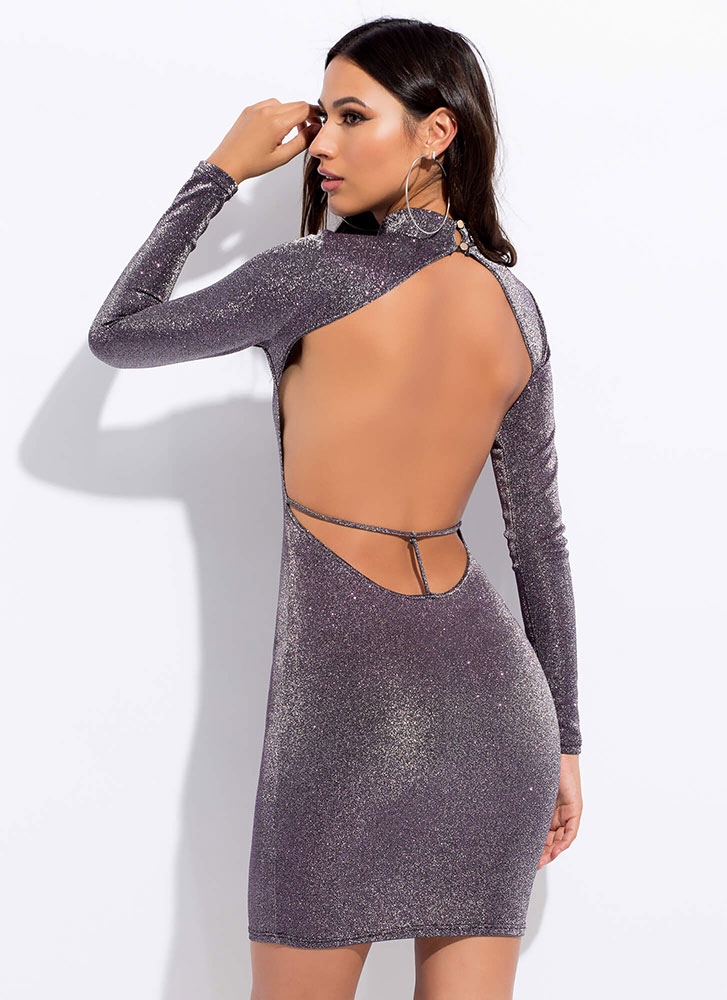 Glitz Attack Sparkly Open Back Dress PURPLE