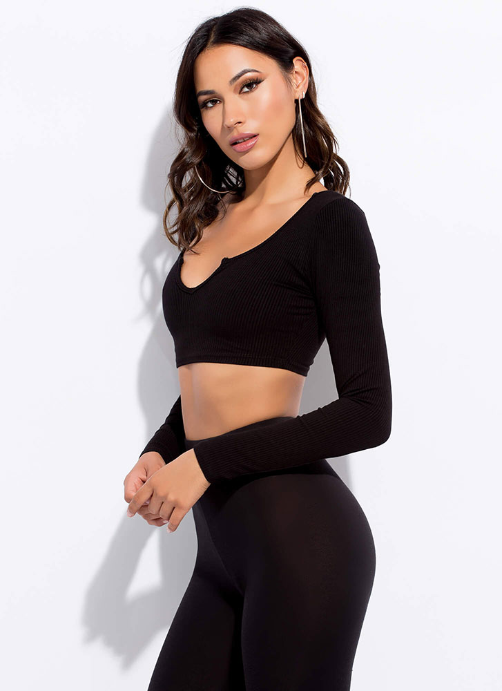 Kick It Up A Notch Ribbed Crop Top BLACK