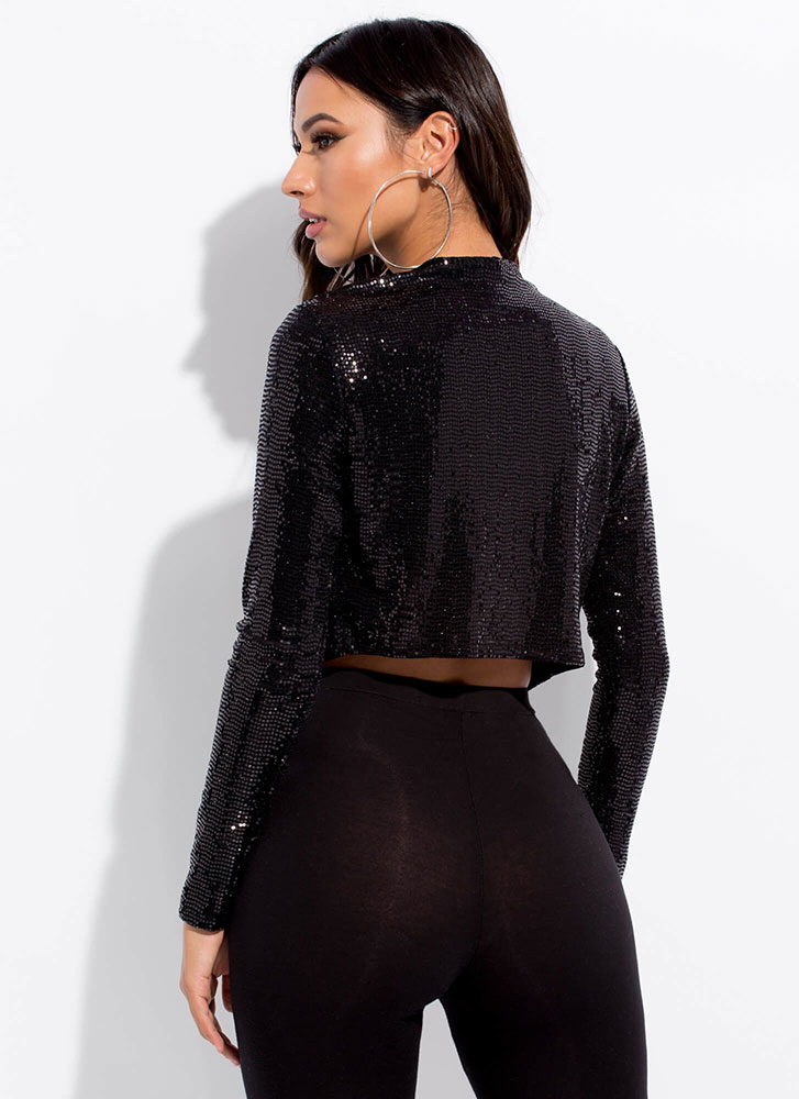 Sequined Night Sparkly Cropped Jacket BLACK