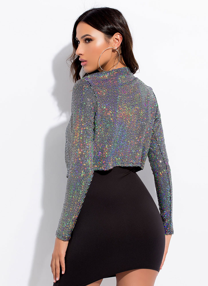 Sequined Night Sparkly Cropped Jacket SILVER