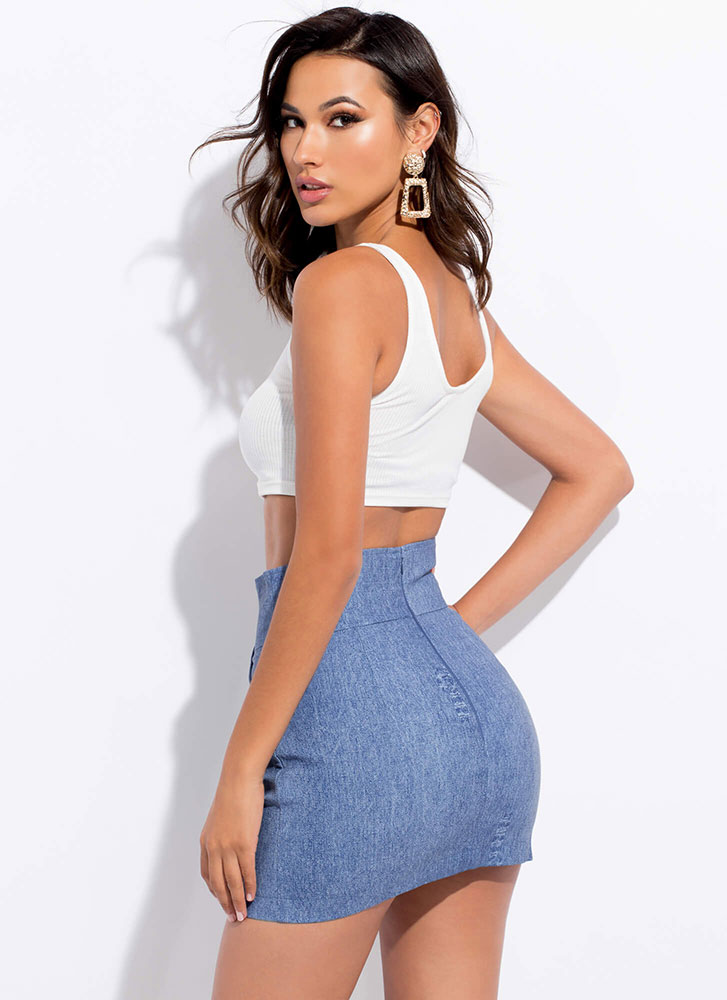 Chic Chick Faux Wrap Denim Look Skirt BLUE