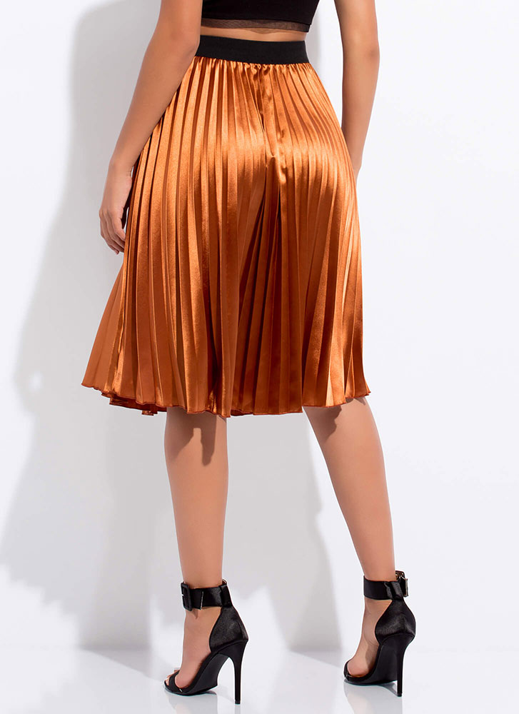 Pleated Perfection Satin Midi Skirt BROWN