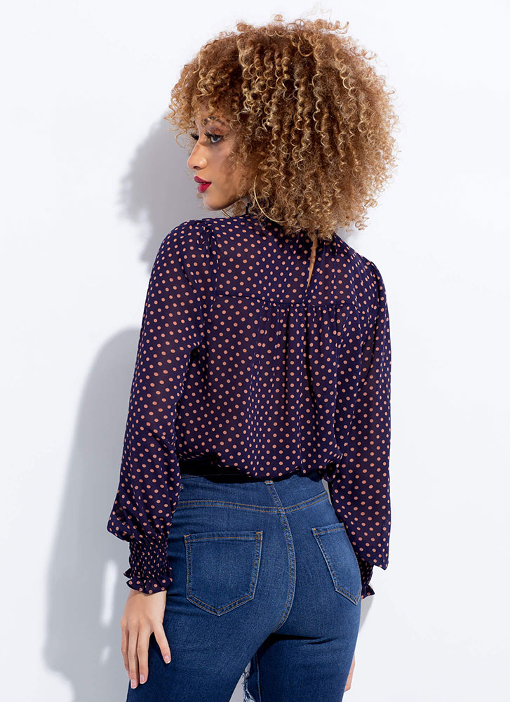 Just Spotted Flared Polka Dot Blouse BLUE