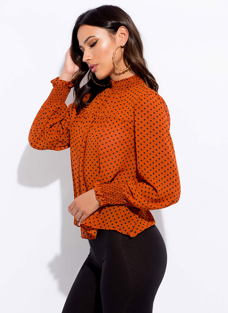 Just Spotted Flared Polka Dot Blouse RUST