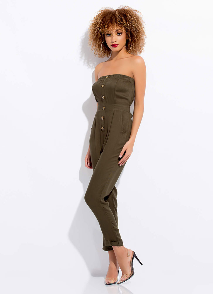 Easy Breezy Strapless Tied Jumpsuit OLIVE