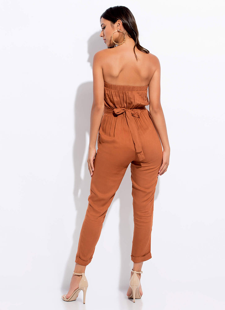 Easy Breezy Strapless Tied Jumpsuit RUST