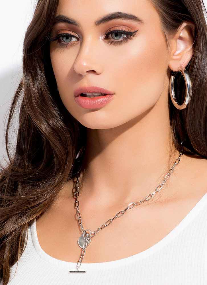 Bless Your Heart Toggle Chain Necklace SILVER