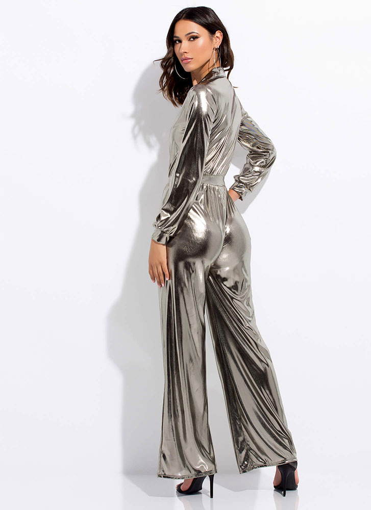 Shine Metallic Wide-Leg Jumpsuit BLACKGOLD