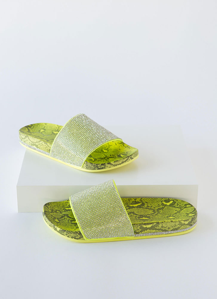 Bling On The Snake Jeweled Slide Sandals NEONYELLOW