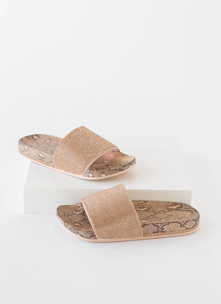 Bling On The Snake Jeweled Slide Sandals NUDE