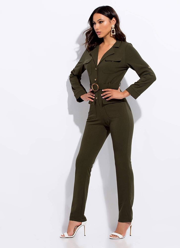 In Charge Belted Button-Up Jumpsuit OLIVE