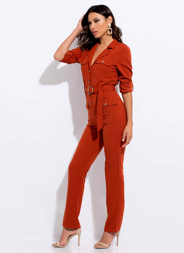 In Charge Belted Button-Up Jumpsuit RUST
