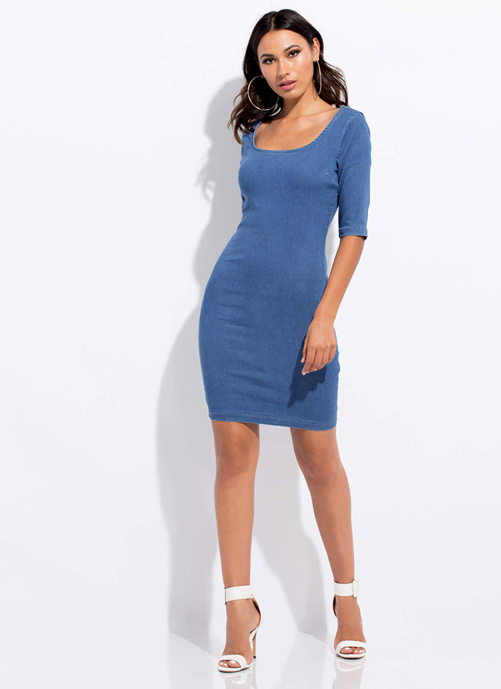 dbce8ee4e53fe Casual Relationship Denim Midi Dress