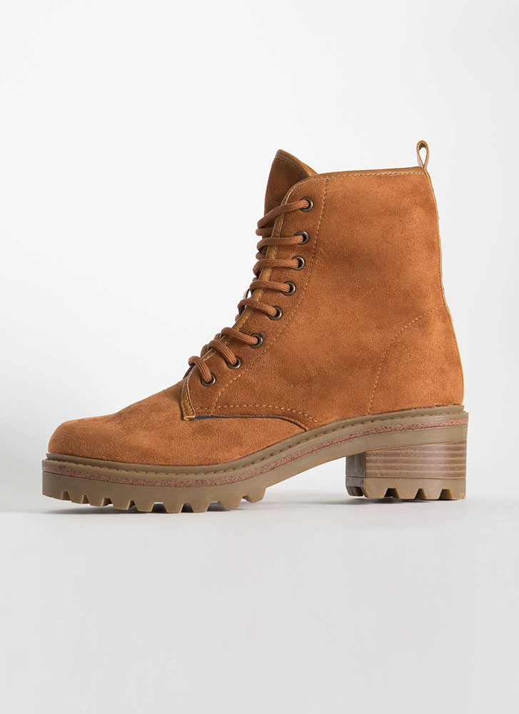 Women At Work Lace-Up Lug Sole Boots DKCAMEL