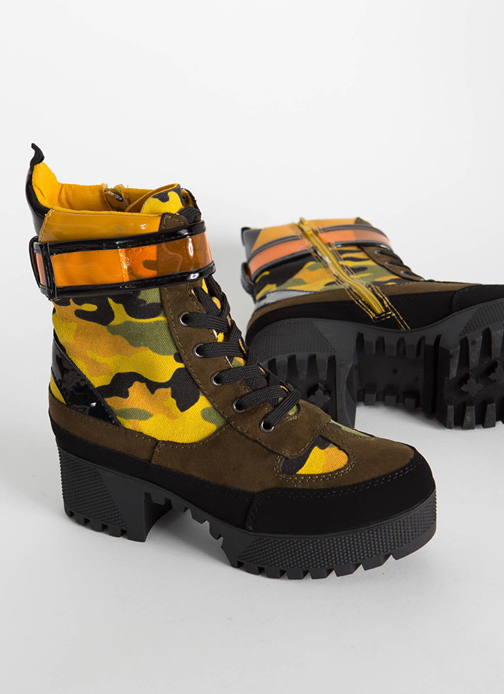 High Altitude Camo Platform Boots YELLOW